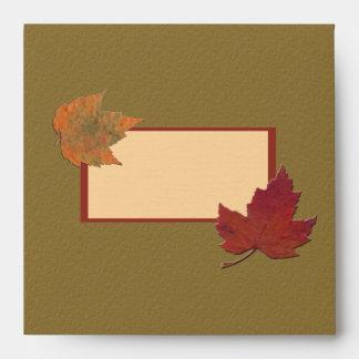 """Sobre de las hojas de otoño para 5,25"""" invitación"""