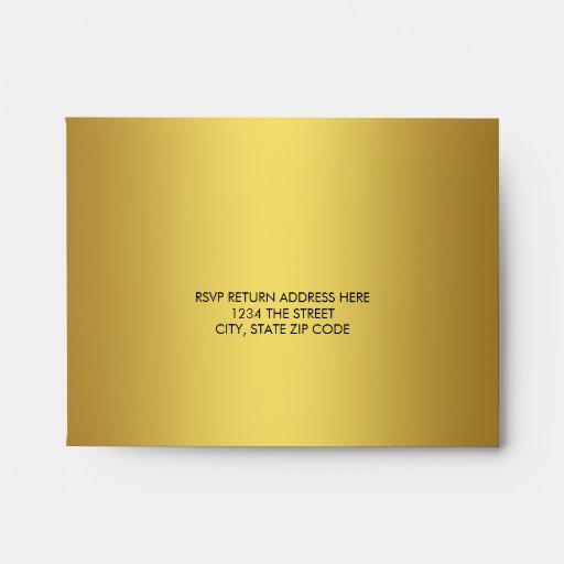 Sobre de lino elegante de RSVP del oro sólido