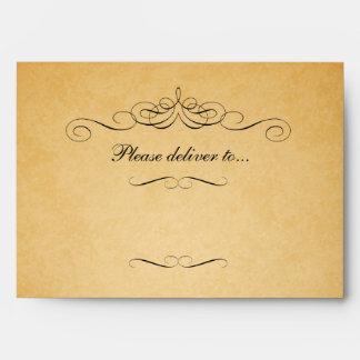 Sobre de papel viejo de la invitación del boda de