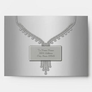 Sobre de plata de los diamantes de plata