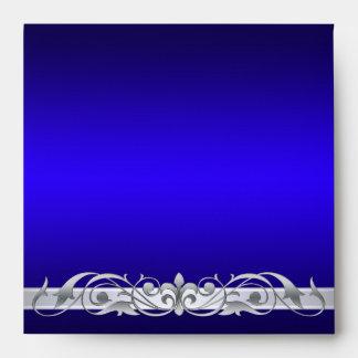 Sobre de plata del azul del cuadrado de la grande