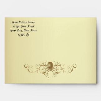 Sobre del boda de la araña del oro