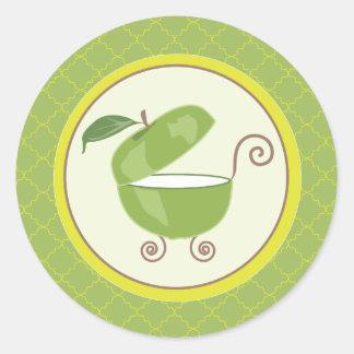 Sobre del carro de bebé de Apple/pegatina verdes Pegatina Redonda
