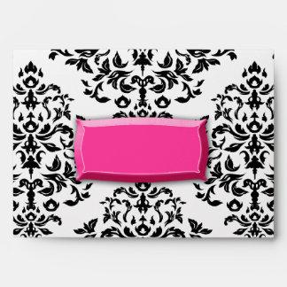 sobre del damasco de la ráfaga 311-Pink
