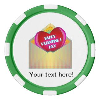 Sobre del el día de San Valentín y clipart felices Juego De Fichas De Póquer