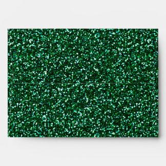 Sobre del fiesta del encanto del brillo del verde