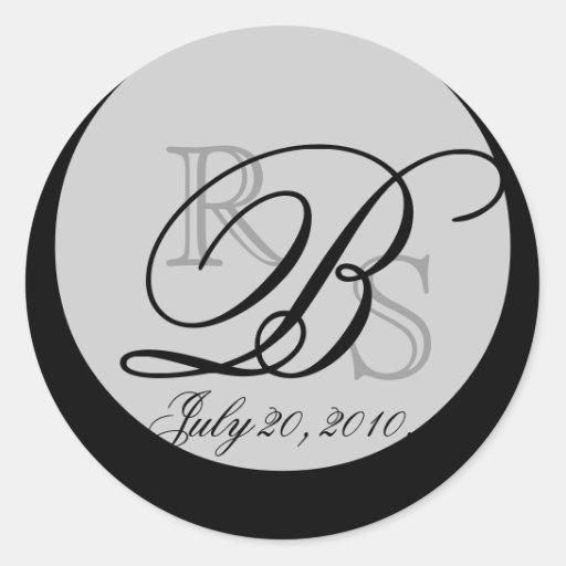 Sobre del monograma B del boda y sello del favor Pegatina Redonda