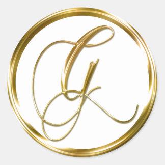 Sobre del oro del monograma de G falso o sello del Pegatina Redonda