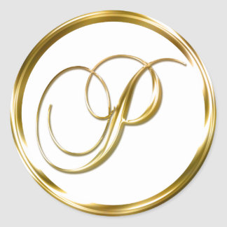 Sobre del oro del monograma de P falso o sello del Pegatina Redonda