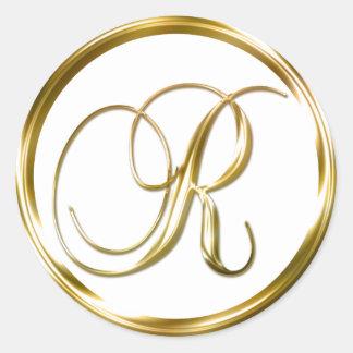 Sobre del oro del monograma de R falso o sello del Pegatina Redonda