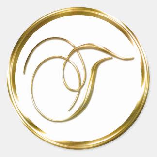 Sobre del oro del monograma de T falso o sello del Pegatina Redonda