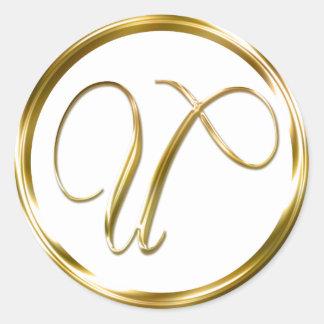Sobre del oro del monograma de U falso o sello del Pegatina Redonda