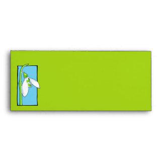 Sobre del papel con membrete del verde azul de Sno