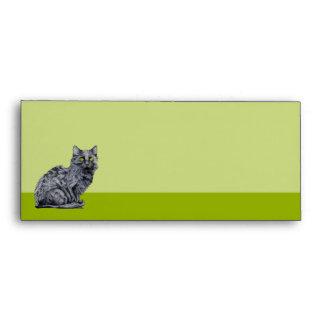 Sobre del papel con membrete del verde del gato ne