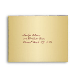 Sobre del vino y del oro para la tarjeta de RSVP