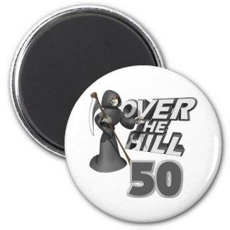 Sobre el 50.o regalo de cumpleaños de la colina imán redondo 5 cm