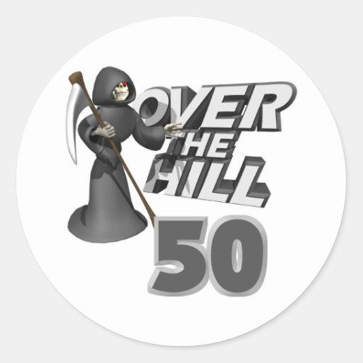 Sobre el 50.o regalo de cumpleaños de la colina etiquetas redondas