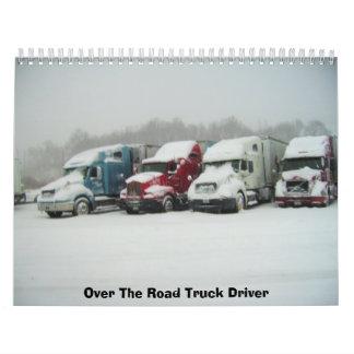 Sobre el conductor de camión del camino calendario