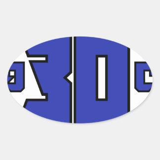 Sobre el logotipo de 30 clanes (azul de pegatina ovalada