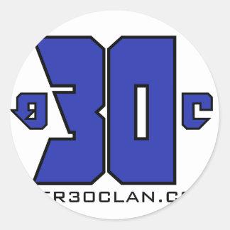 Sobre el logotipo de 30 clanes (azul de pegatina redonda