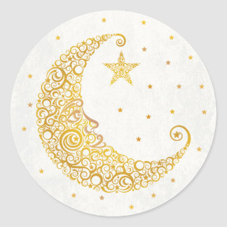 Sobre el pegatina de la luna - oro