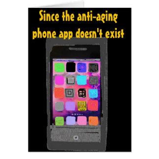 Sobre el teléfono chistoso app del cumpleaños de tarjeta pequeña