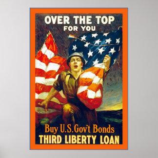 Sobre el top para usted guerra mundial del vintage póster