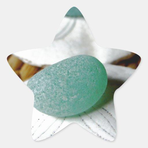 Sobre el vidrio del mar del trullo de la arena calcomania forma de estrella personalizada