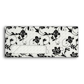 Sobre floral blanco y negro del punto del remolino