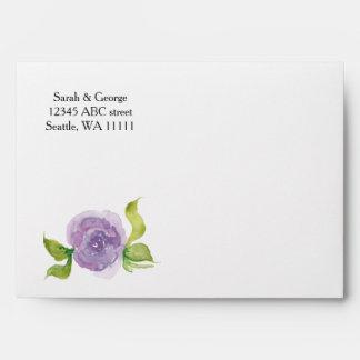 Sobre floral de la acuarela púrpura