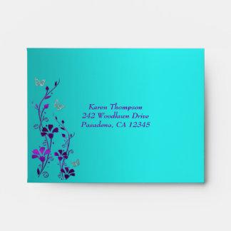 Sobre floral de la mariposa A2 de la plata púrpura