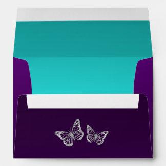 Sobre floral de la mariposa A7 de la plata púrpura
