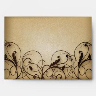 Sobre floral de los remolinos del vintage