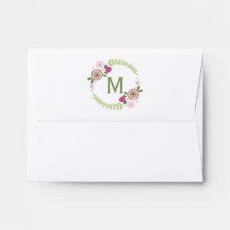 Sobre floral de Notecard del monograma de la guirn