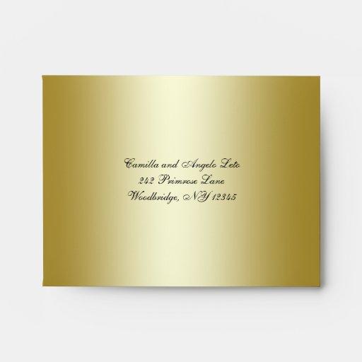 Sobre floral del FALSO brillo del oro para la tarj
