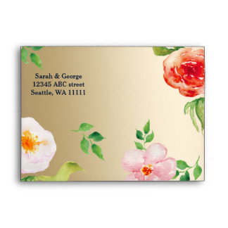sobre floral moderno del boda del oro bohemio de