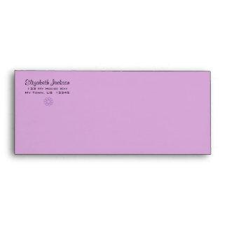 Sobre floral personalizado de la púrpura y de la l