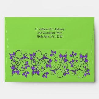 Sobre floral púrpura verde A7 para los tamaños 5x7