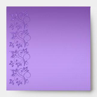 """Sobre floral púrpura y rosado para 5,25"""" cuadrado"""