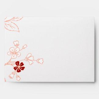 Sobre floral rojo del boda del blanco gris del mel