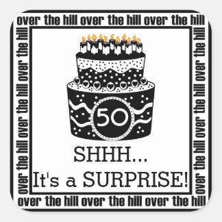 Sobre la fiesta de cumpleaños de la sorpresa de la pegatina cuadrada