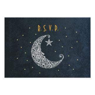 Sobre la luna que casa la tarjeta II de RSVP Comunicados Personales