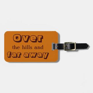 Sobre las colinas y lejos etiqueta de equipaje