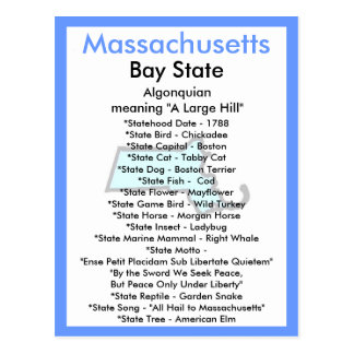 Sobre Massachusetts Tarjeta Postal