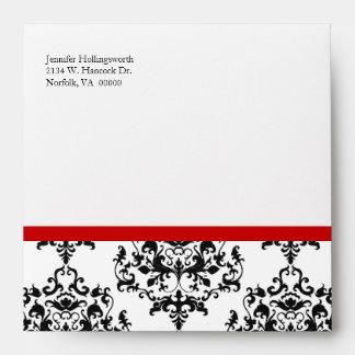 Sobre negro, blanco, y rojo elegante de la ocasión