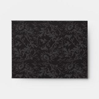 Sobre negro y gris A2 de la impresión del damasco