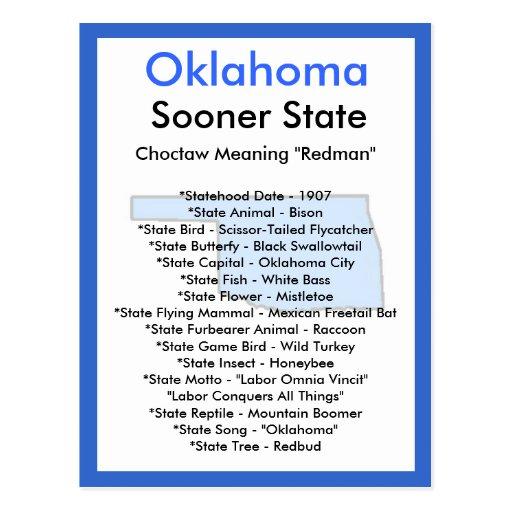 Sobre Oklahoma Tarjeta Postal