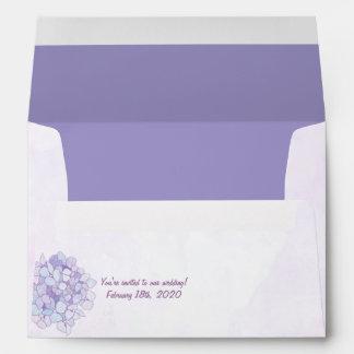 Sobre púrpura de la invitación A7 del boda del Hyd