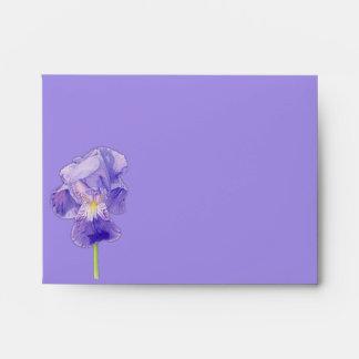Sobre púrpura de la tarjeta de nota A2 del iris pú