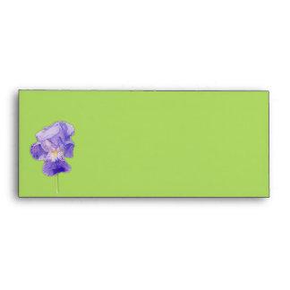 Sobre púrpura de la tarjeta del verde #10 del iris